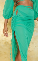 Apple Green Cut Out Ruched Side Beach Skirt 5
