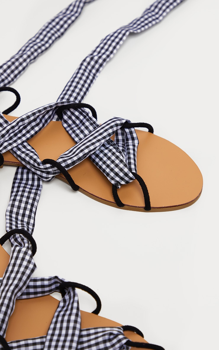 Gingham Ghillie Lace Up Sandal 4