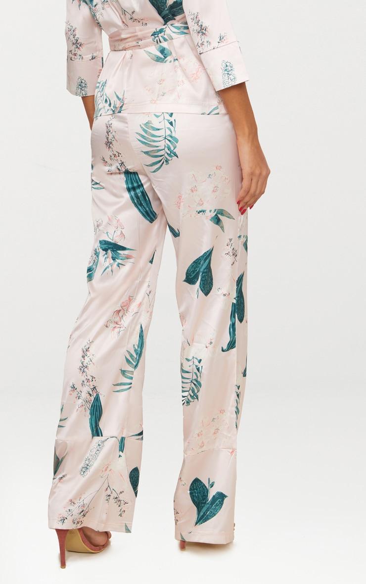 Blush Satin Floral Wide Leg Trousers 4