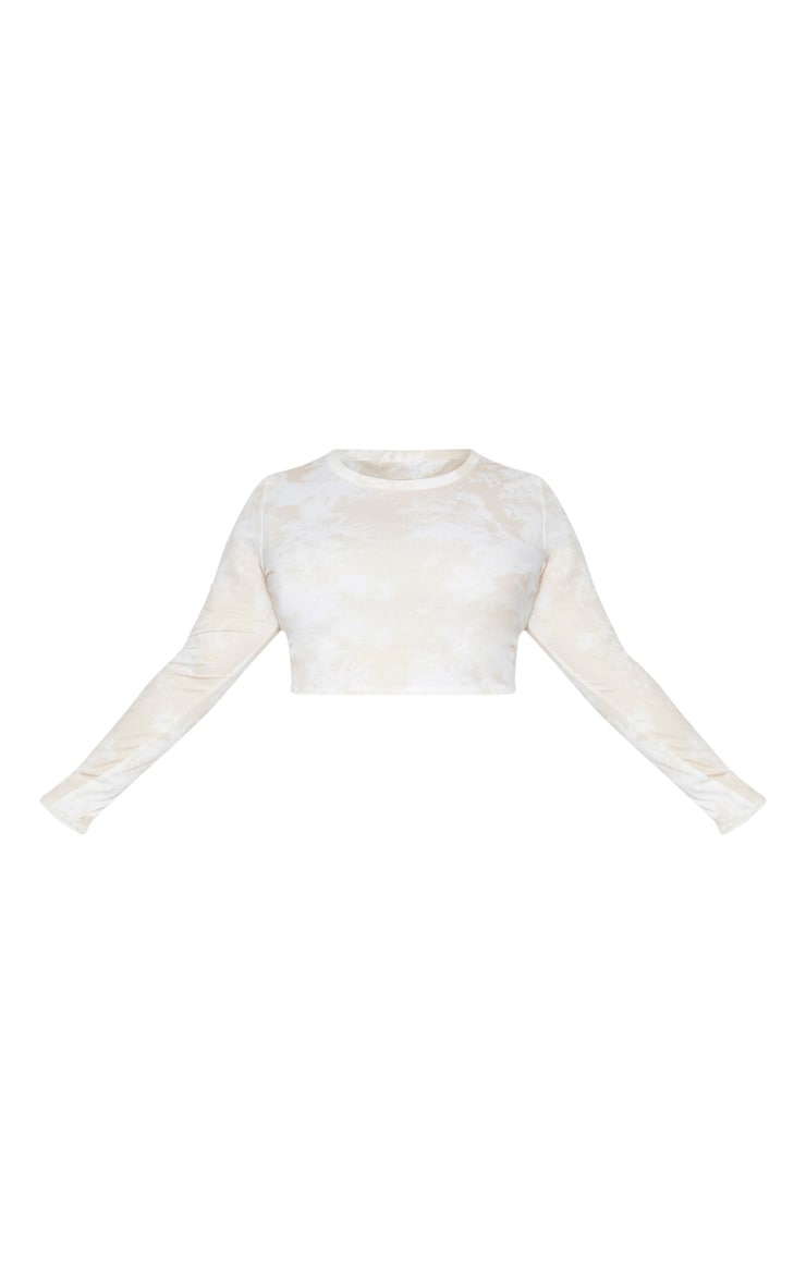 Plus Stone Tie Dye Rib Long Sleeve Crop Top 5