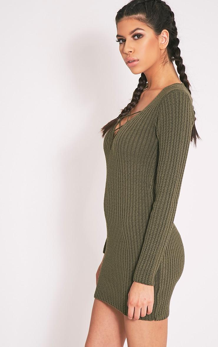 Zosia robe pull tricotée kaki à lacets 3