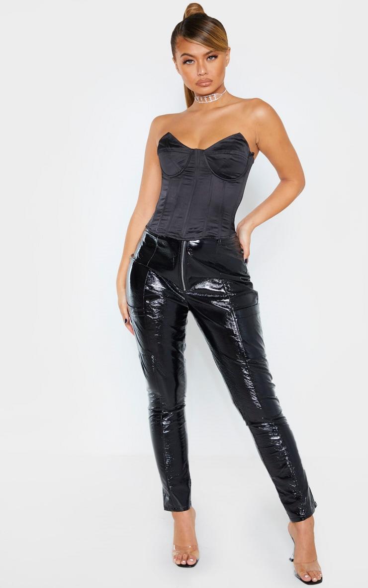 Top style corset noir satiné structuré à bonnets pointus 4