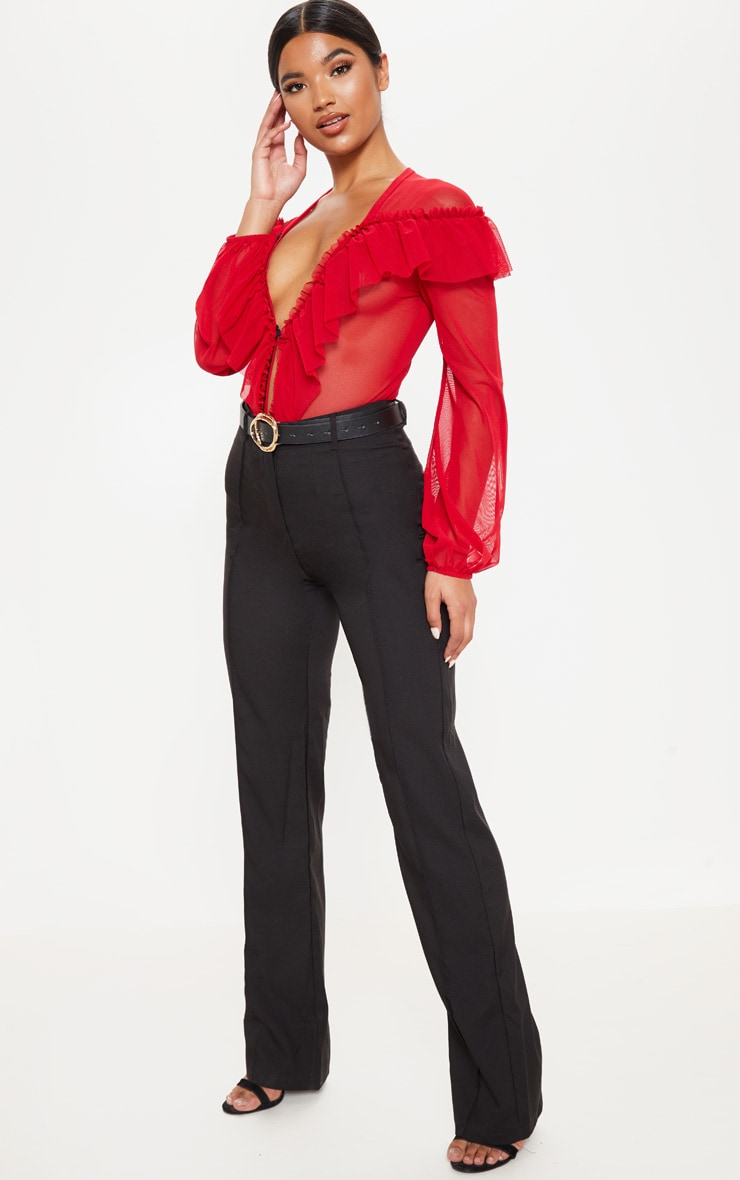 Red Ruffle Mesh Plunge Bodysuit 5