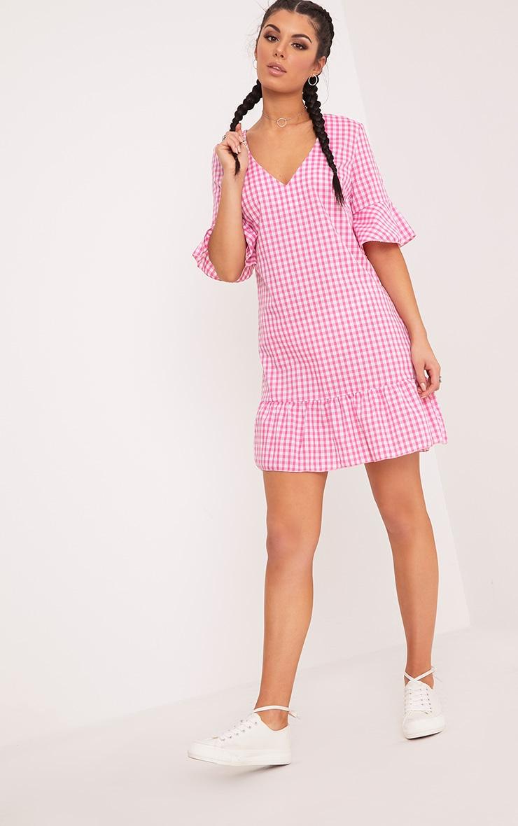 Fenaline Pink Gingham Plunge Frill Detail Shift Dress 4