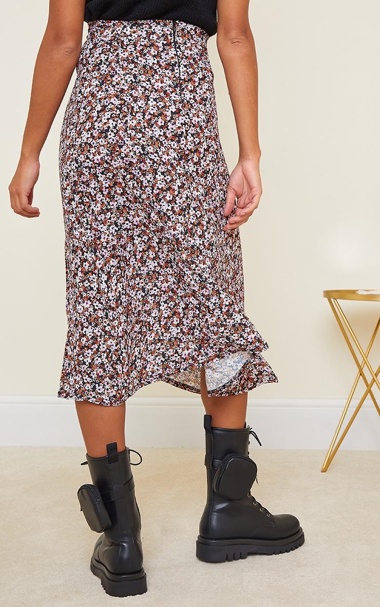 Black Winter Floral Floaty Midi Skirt 3