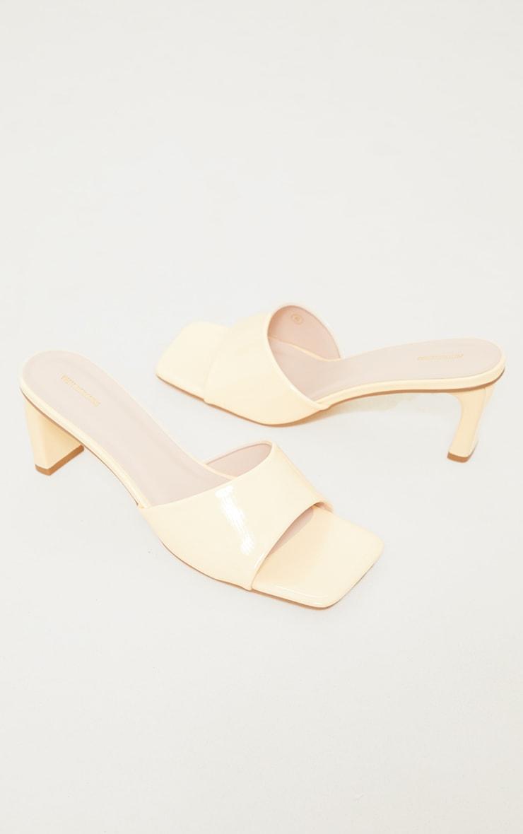 Yellow PU Patent Square Toe Flat Heeled Mules 3