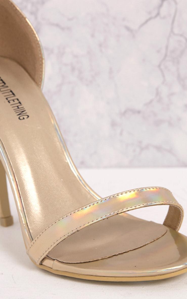 Clover sandales à talons à bride or holographique 5