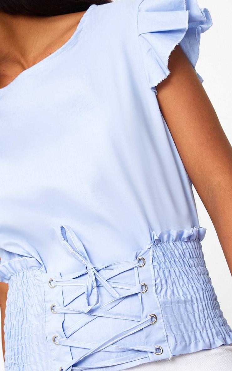 Blue Corset Frill Sleeve Shirt 5