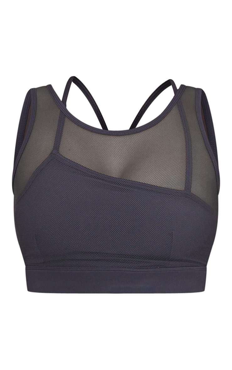 Charcoal Brushed Luxe Mesh Overlay Padded Sports Bra 5