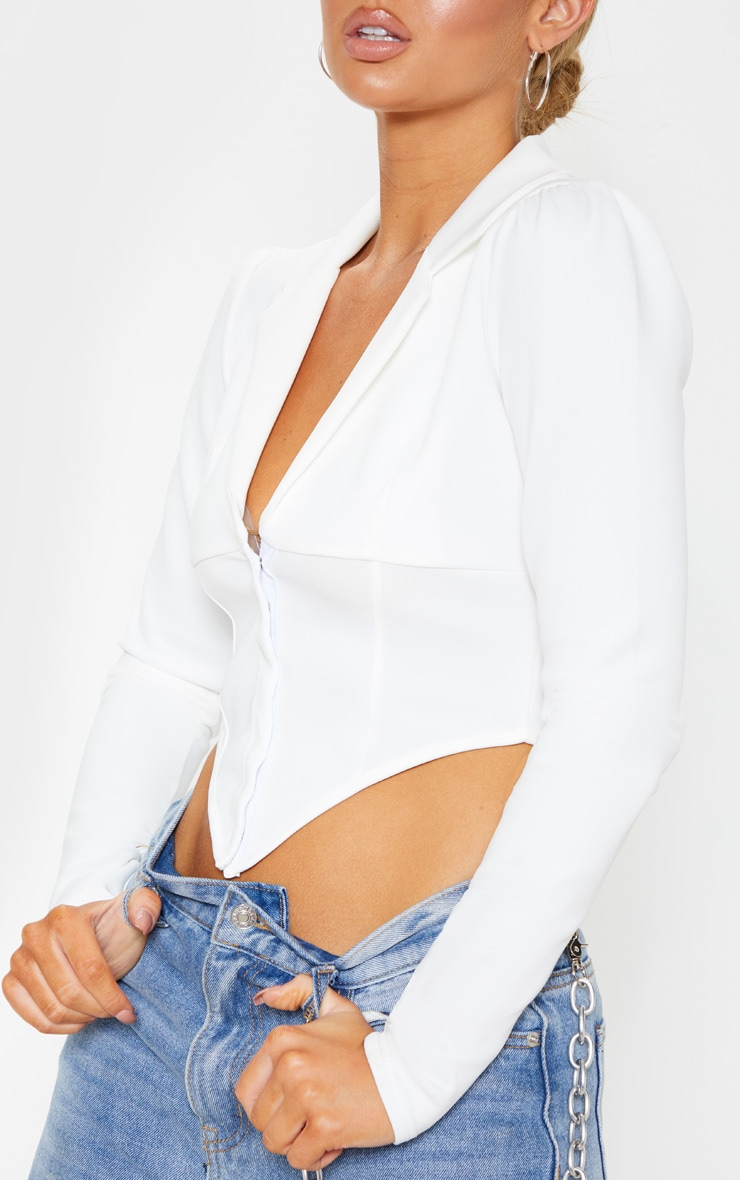 White Collar Detail Long Sleeve Cropped Shirt 5