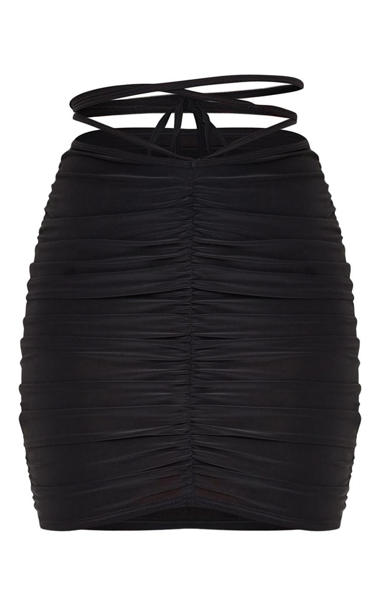 Black Slinky Tie Waist Mini Skirt 6