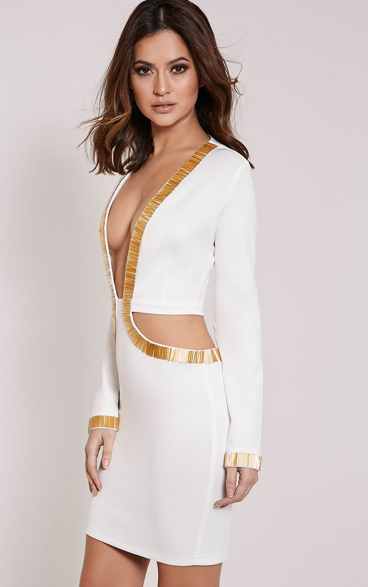 Adella White Beaded Plunge Cut Out Dress 5