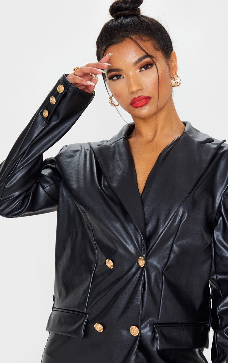 Black PU Oversized Double Breasted Pocket Front Blazer 5