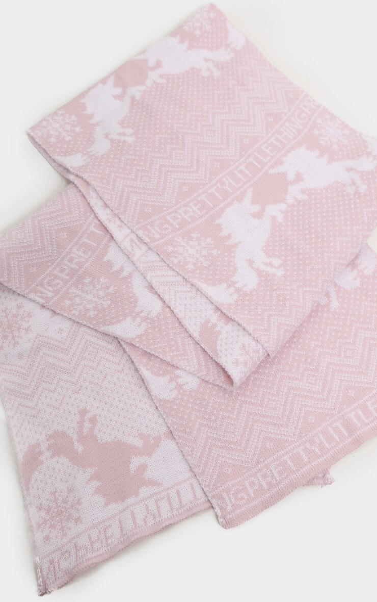 PRETTYLITTLETHING Pink Christmas Unicorn Print Scarf 2