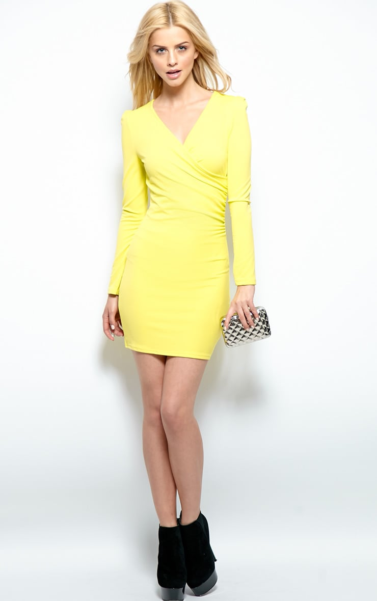 Mina Lime Crossover Bodycon Dress 6