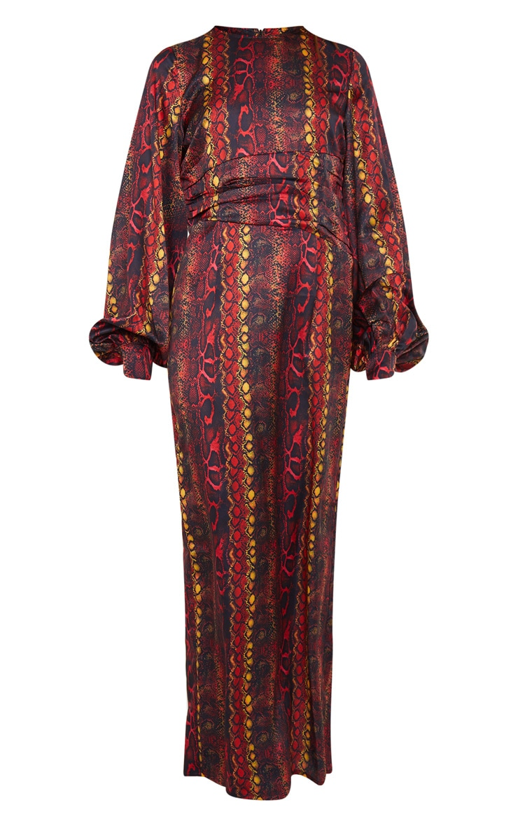 Multi Printed Satin Ruched Waist Balloon Sleeve Maxi Dress 5