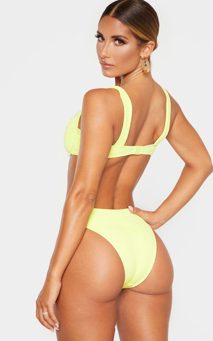 Light Lime Mini Crinkle Underwired Square Neck Bikini Top 2