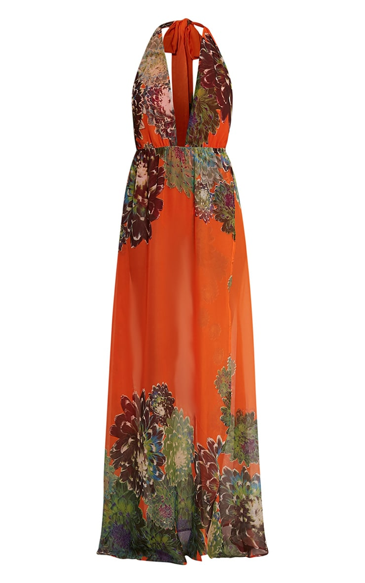 Alina Bright Orange Tropical Print Plunge Maxi Dress 3