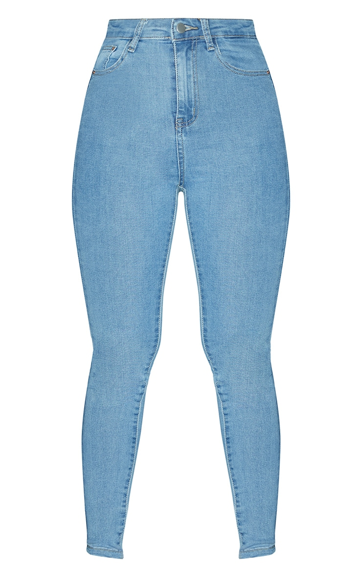 PRETTYLITTLETHING Light Wash 5 Pocket Skinny Jean 3