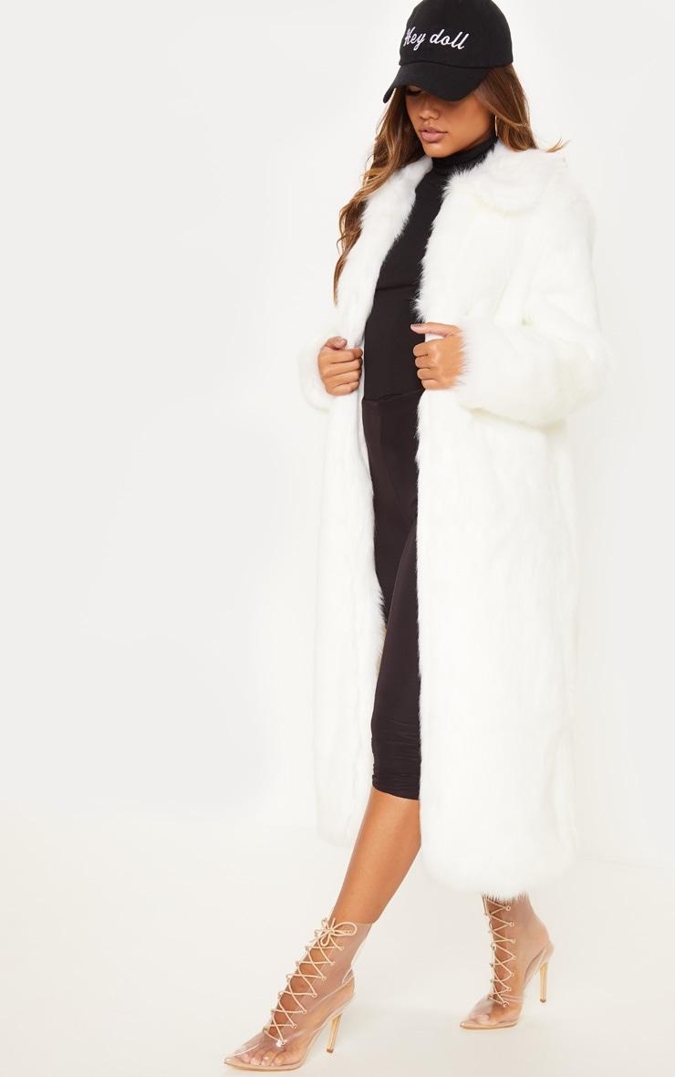 Cream Maxi Faux Fur Coat  4