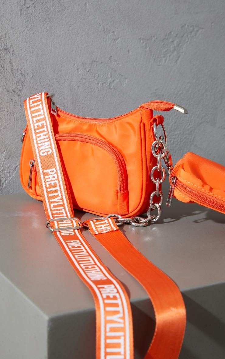 Orange Multi Pocket Chain Cross Body Bag 3