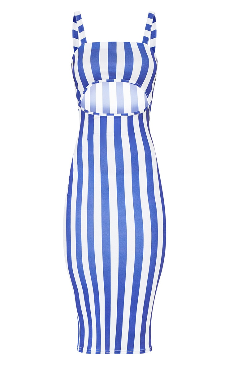 Blue Stripe Print Cut Out Detail Midi Dress 3