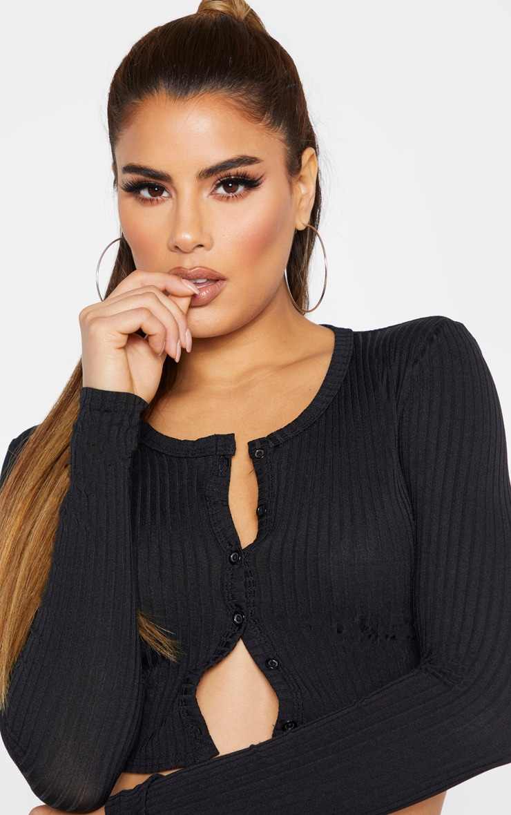 Tall Black Ribbed Button Detail Long Sleeve Crop Top 6