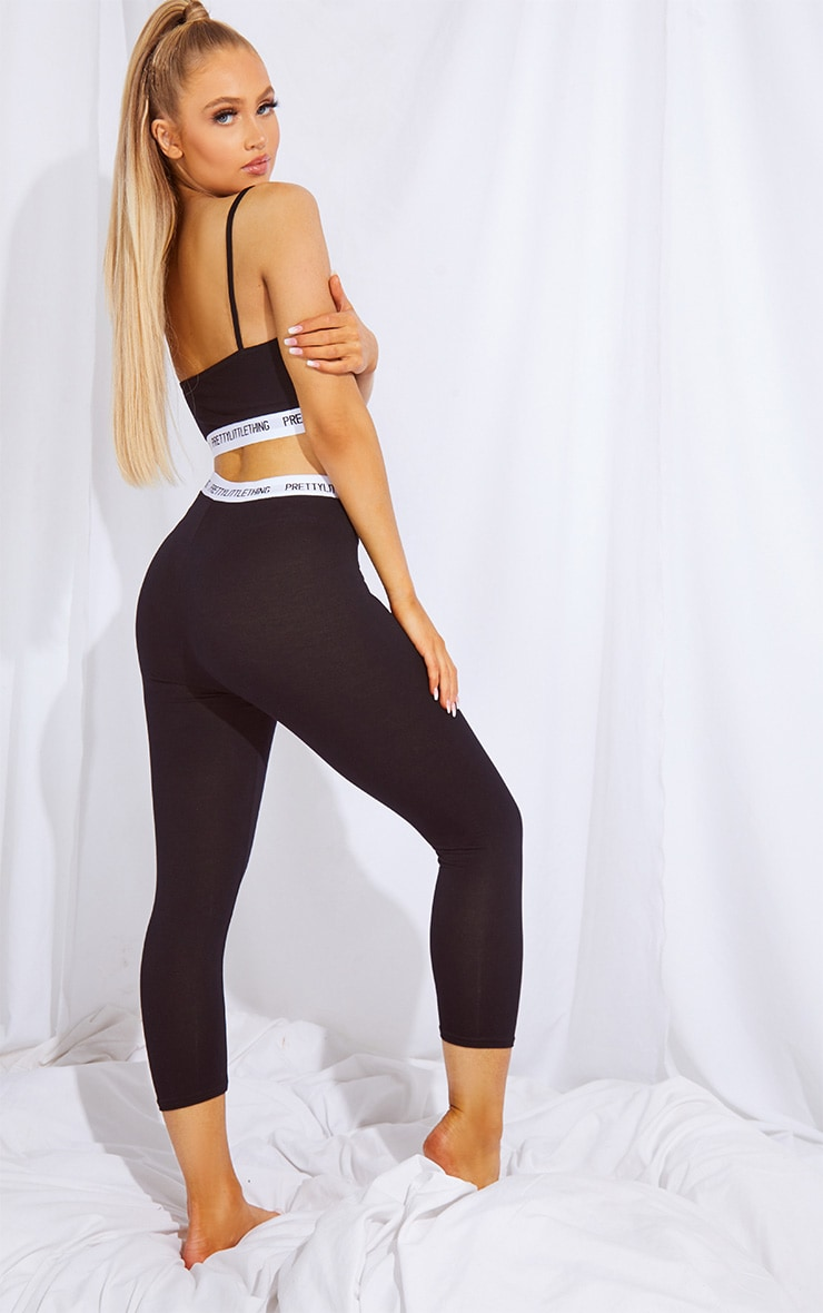 PRETTYLITTLETHING Black Bralet And Crop Legging PJ Set 1