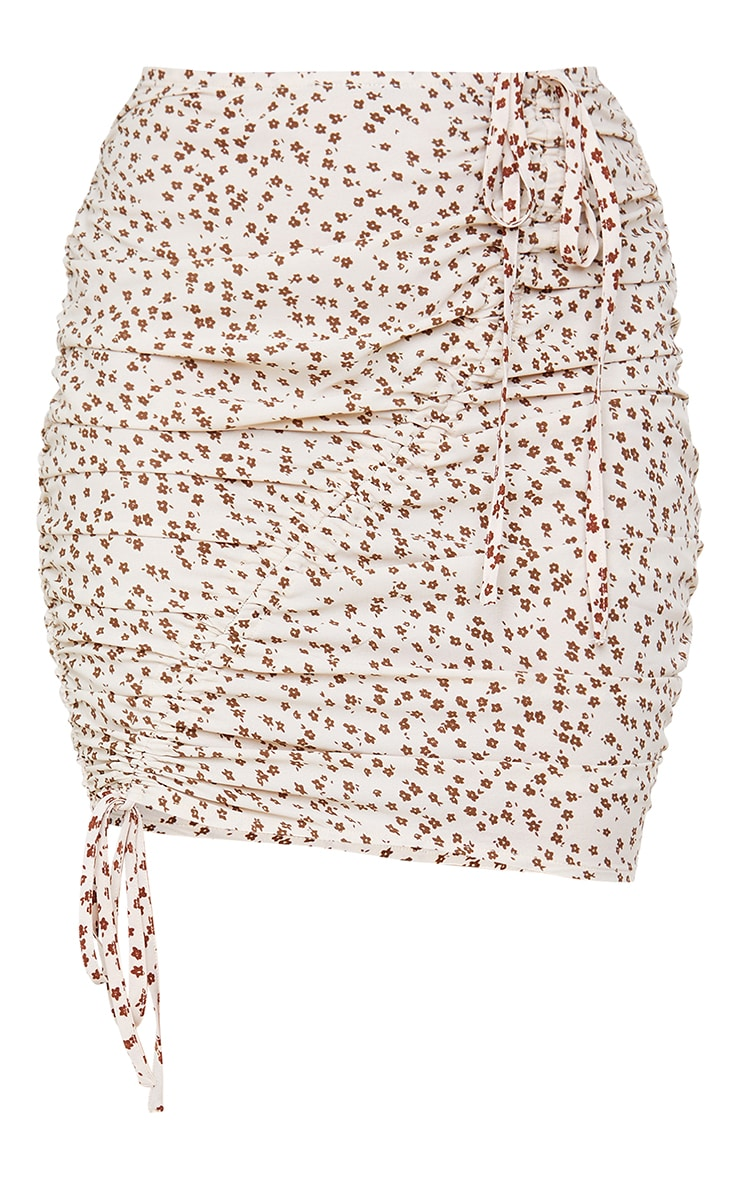 Cream Ditsy Floral Printed Woven Ruched Tie Detail Mini Skirt 6