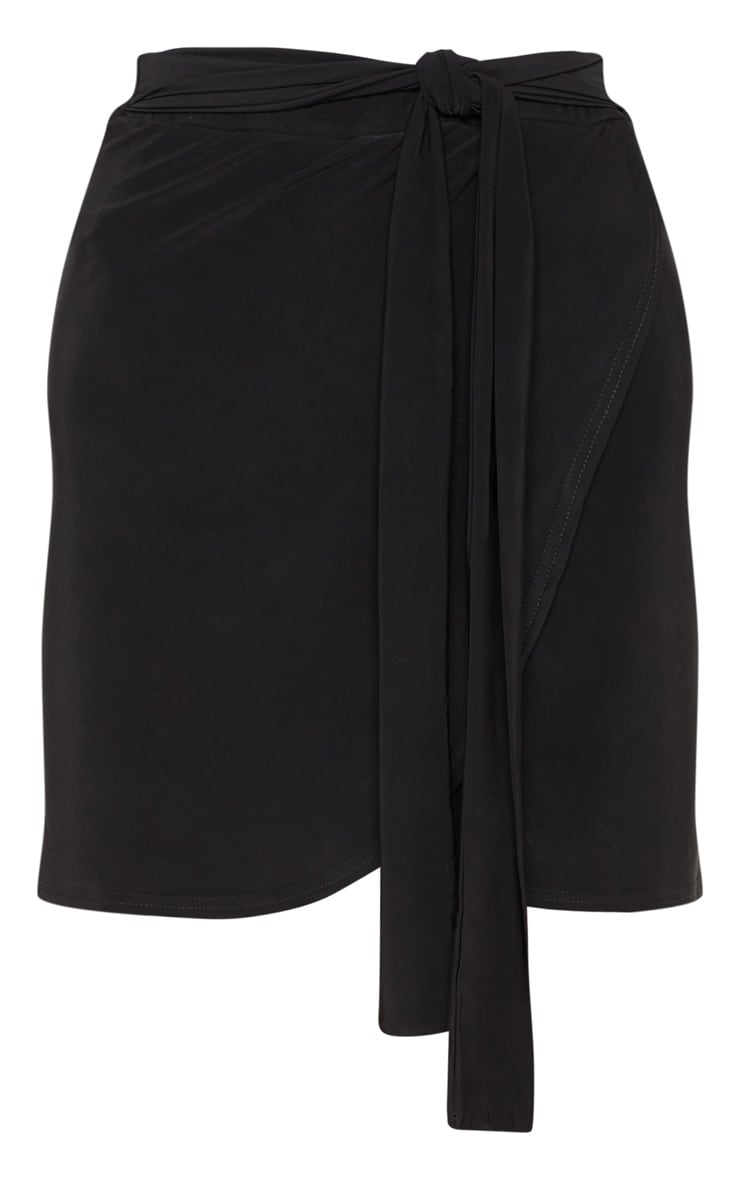 Black Slinky Tie Waist Wrap Skirt- single layer 3