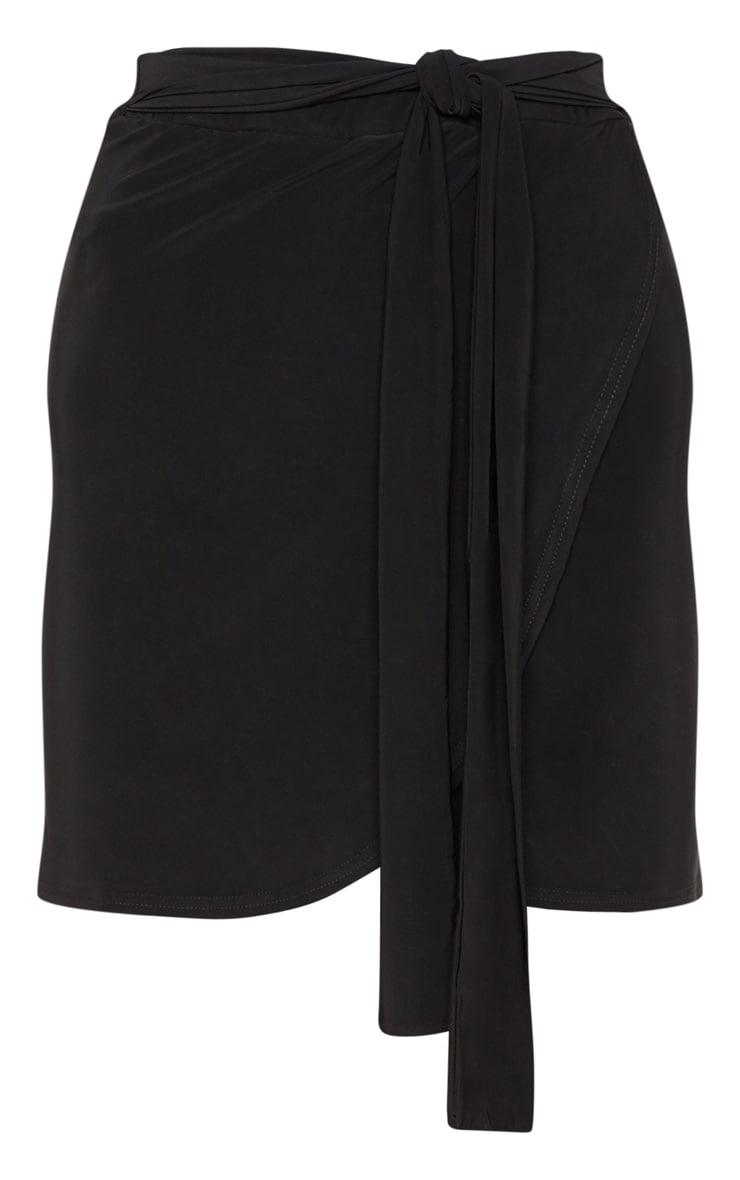 Black Slinky Tie Waist Wrap Skirt 3