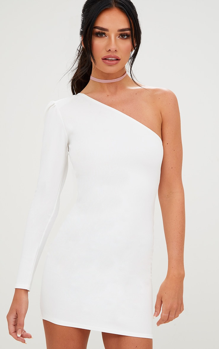 White One Shoulder Puff Detail Bodycon Dress 1