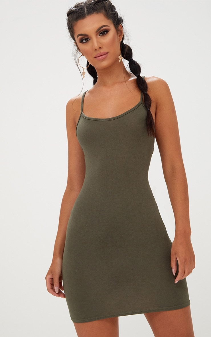 Khaki Strappy Bodycon Dress 1