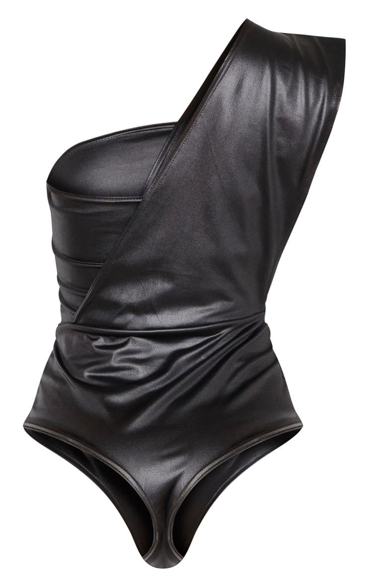 Body noir effet mouillé à manche unique 6