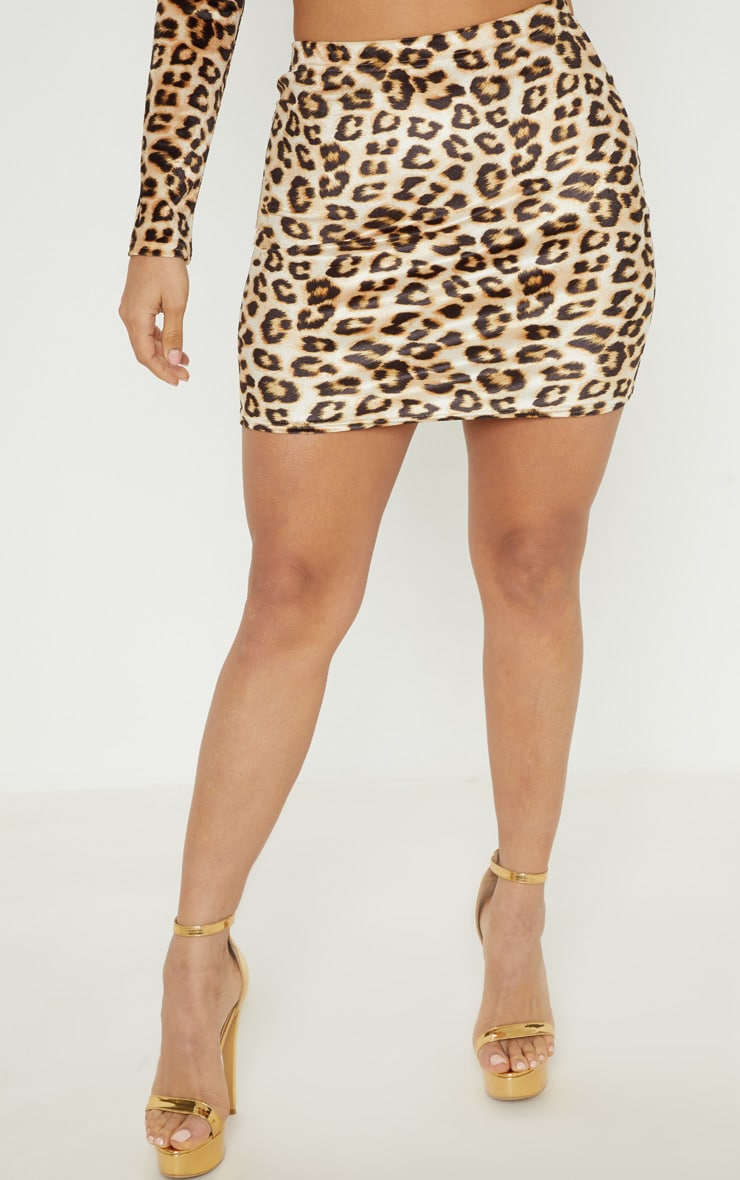 Tan Velvet Leopard Print Mini Skirt 2