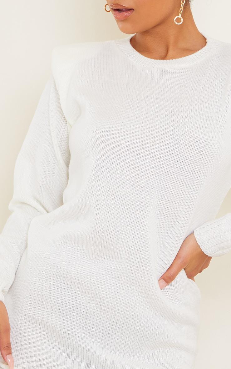 Cream Shoulder Pad Knitted Jumper Dress 4