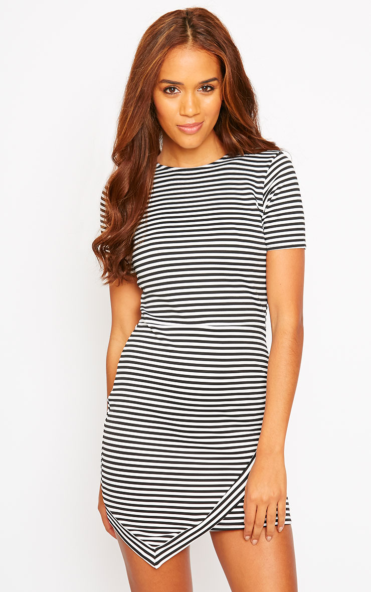 Eve Black Asymmetric Stripe Dress 1
