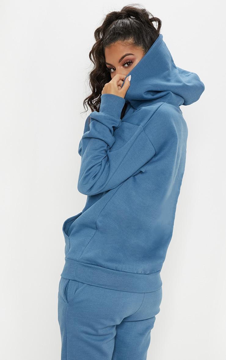 Hoodie oversize bleu cendré imprimé PRETTYLITTLETHING 2
