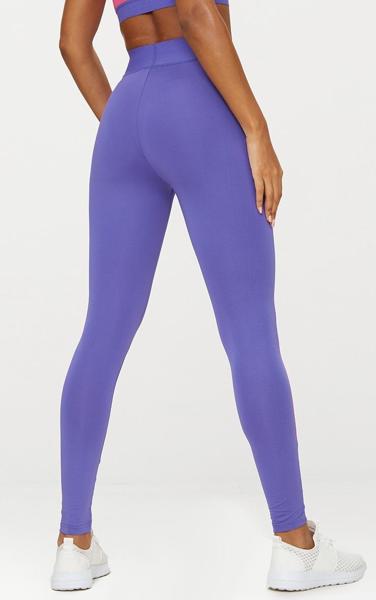Purple Contrast Gym Leggings 4