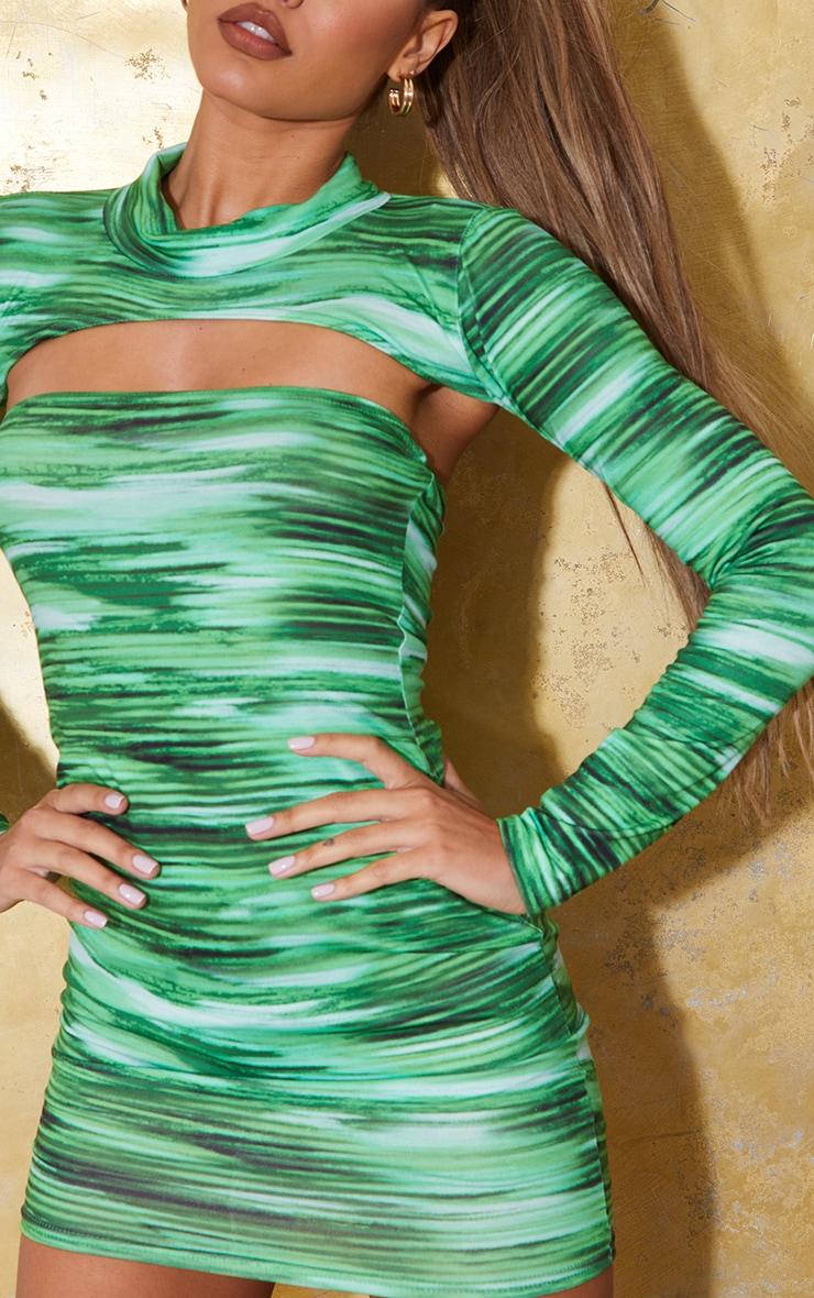 Bright Green Stripe Bandeau Bodycon Dress 4