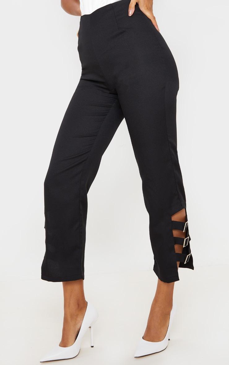 Black Woven Buckle Detail Straight Leg Trousers 2