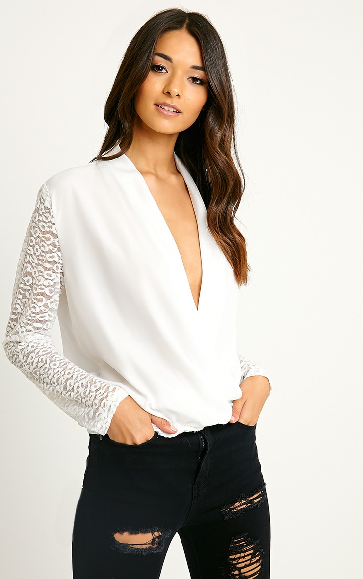 Carlene White Lace Sleeve Wrap Top 1
