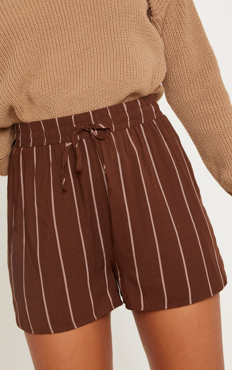 Chocolate Stripe Drawstring Waist Casual Short 5