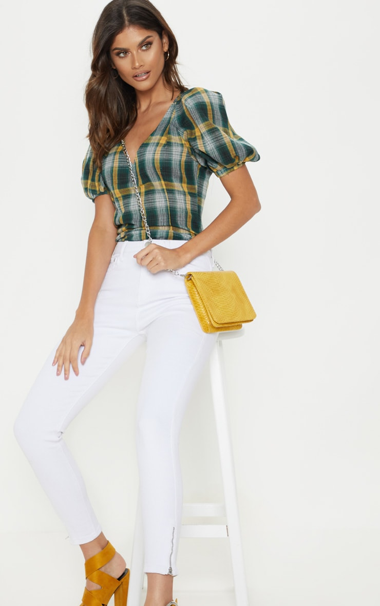 Green Check Puff Short Sleeve Top 1