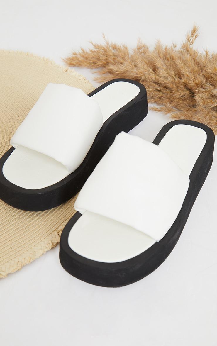 Cream PU Padded Plait Square Toe Mule Flat Sandals 4