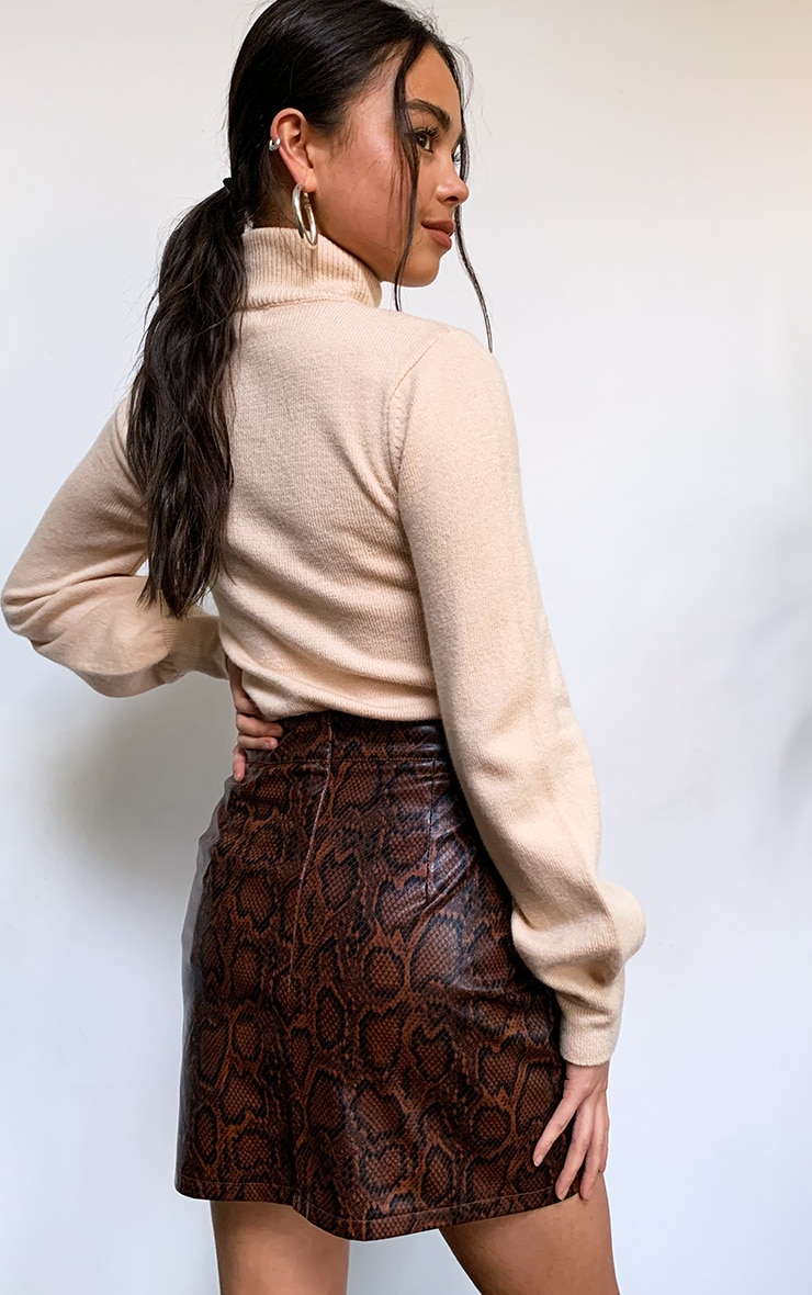 Brown Snake Faux Leather Split Front Mini Skirt 3