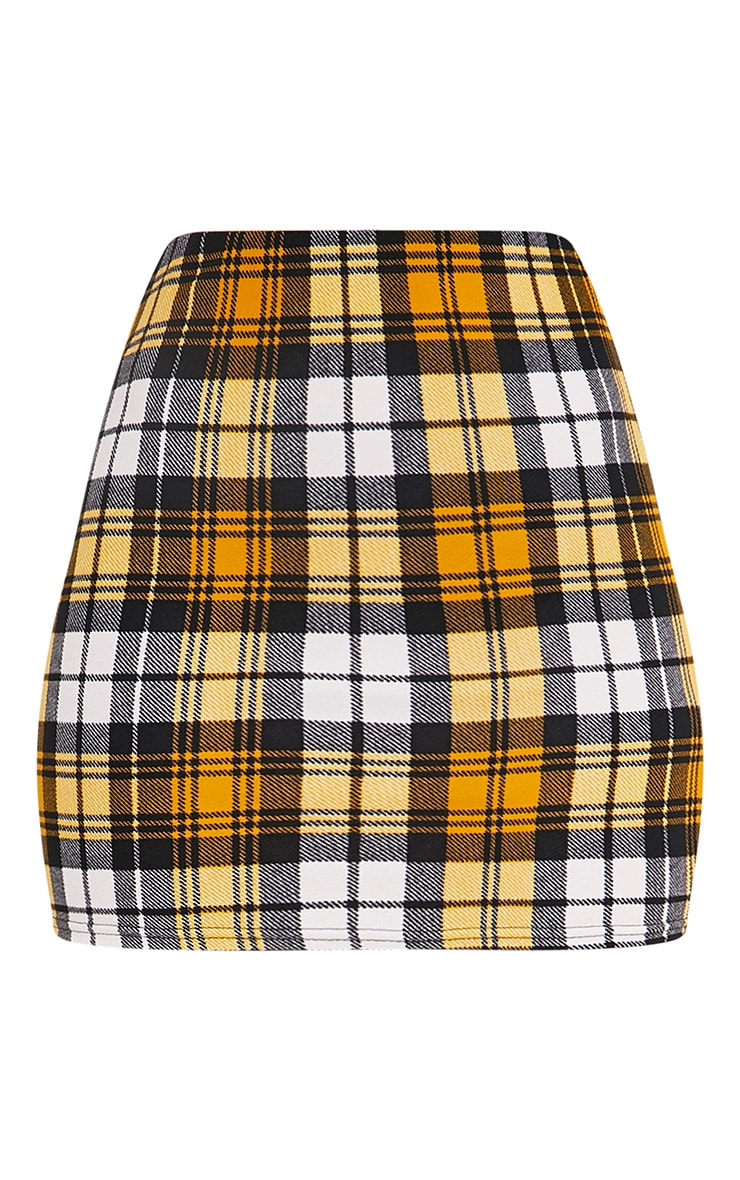 Yellow Check Print Mini Skirt 3