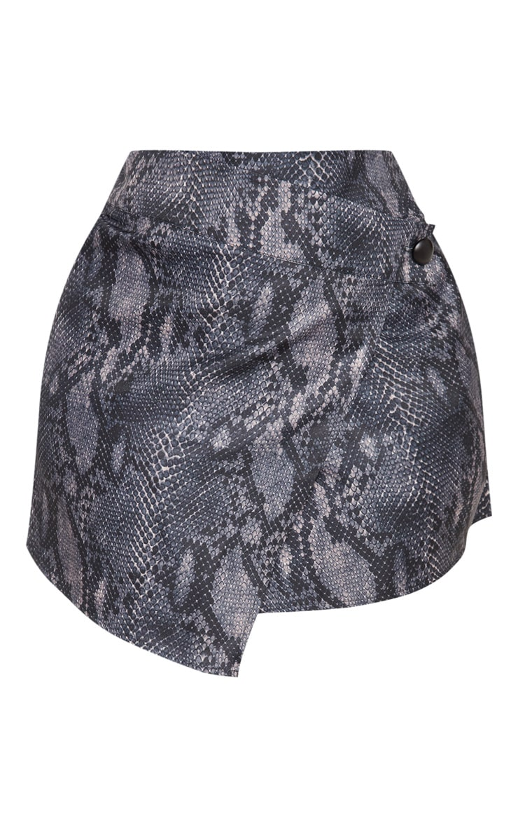 Plus Grey Snake Print Button Detail Wrap Mini Skirt 3