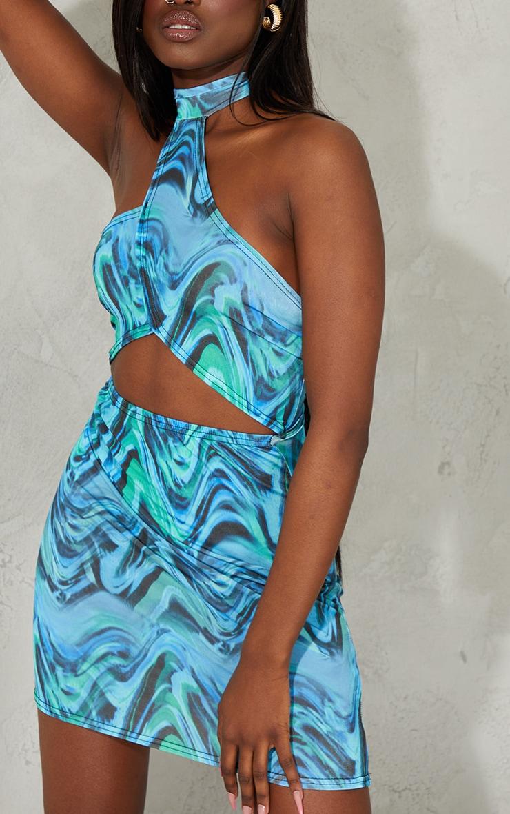 Blue Marble Print Slinky Halterneck Cut Out Bodycon Dress 4