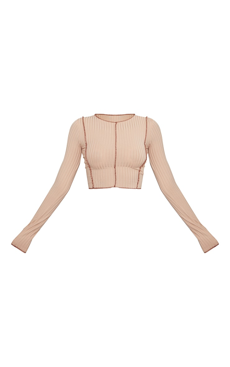 Stone Rib Contrast Seam Long Sleeve Crop Top 5